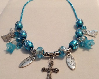 Morning Glory Charm and Cross Necklace