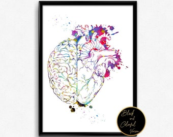 Heart And Brain ,Watercolor Print, wall art, printBrain&Heart Poster, medical art(1309)