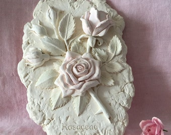vintage rose wall decor plaster wall hanging pale pink rose art shabby pink rose home decor decorative pale pink rose plaster wall decor