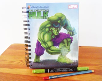 Sketch/Story Writing Book - The Incredible Hulk recycled Little Golden Book