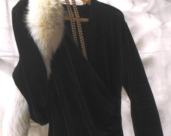 ON SALE-20% off  Dramatic black dress, velvet evening dress original '80s