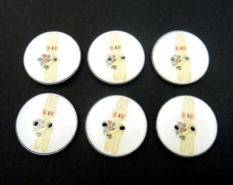 """Primitive Bunny or Rabbit Buttons.  Handmade Buttons.  Easter or Spring Sewing Buttons.  3/4"""" = 20 mm."""