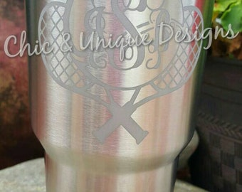 Yeti Rambler 30 oz, etched tennis monogram  (vine). Can be etched on 20 oz also, see description for details.