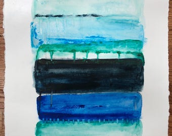 "16"" x 20"" Modern Abstract Painting: ""Stacks/2"""