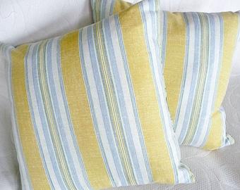 Yellow Blue Pillows, Yellow Striped Pillows, Yellow Throw Pillow, Pillow Covers, Farmhouse Pillows, Cream, Maize, 12x18, 12x20, 18x18, 20x20