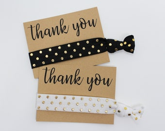 Thank You Hair Ties, Elastic Hair Ties, Elastic Wrist Bands/Bracelets, Party Favors, Wedding Favors, Hair Tie Favors