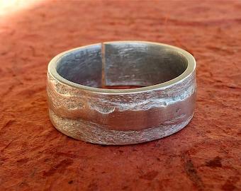 Rustic ring men ring large man ring textured aluminum ring adjustable textured ring men - original ring - band ring men, man