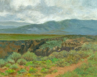 New Mexico Art Print, Southwest Landscape, Rio Grande Gorge Landscape Print, Home Decor Wall Art from Oil Painting by P. Tarlow