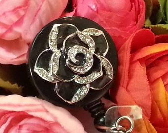 A Rose is a Rose is a Rose ID Reel in Black with Alligator Clip