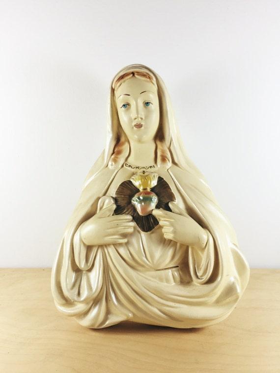 vintage virgin mary wall hanging. ceramic catholic sacred