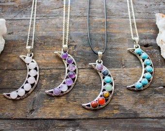 7 Chakra Amethyst Rose Quartz Turquoise Moon Necklace Silver Crystal Jewelry Jewellery Healing Taurus April May Birthday Aries Unique Gift