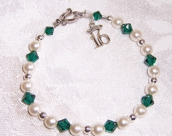 Sweet 16 Bracelet with Swarovski Crystals and Pearls Sterling Silver Sixteen