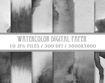 Grey Watercolor Digital Paper ( Instant Download )