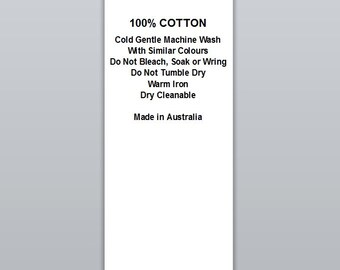 100% Cotton Cold wash Warm iron | Satin Clothing Labels (WP004)