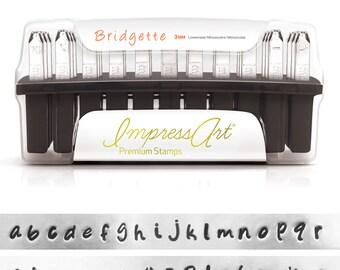 Premium Bridgette Alphabet  Lowercase Metal Stamp Kit 3mm ImpressArt Rated for Stainless Steel Stamping, Lower Case Letter Set