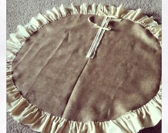 "60"" Burlap Christmas Tree Skirt, with Muslin Ruffle"