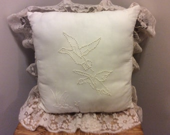 """Vintage White Cotton Embroidered Shabby Chic Decorative Throw Pillow, """"Flying Birds"""", Lace Trim, Victorian, Country French, Bedroom Decor"""