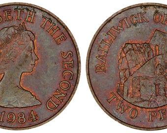 1984 Elizabeth II Bailiwick of Jersey two pence bronze coin