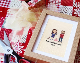 Custom Family Portrait in Pixel Cross Stitch (Framed)