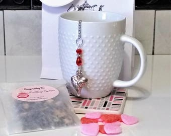 Tea Gift Set with Beaded Crystal Heart Infuser with Hand Blended Loose Tea and Sugar Slices/Packaged in a Hand Stamped Bag with Bow/TeaGift