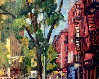 Original Oil Painting, A Few Years Later, 6th Street East Village NYC. 10x17 Oil on Panel, Urban New York City LES Signed Realist Fine Art