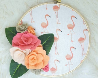 Flamingo hoop art, summer hoop art, summer wall art, summer decor, nursery decor, nursery wall art, flamingo, flamingo decor
