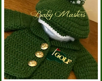 Baby Masters - Green Golf Jacket & Hat  - Baby Golf Hat - Baby Scally Cap - Donegal Cap - Baby Masters Green Golf Jacket