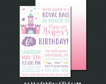 Princess Birthday Invitation | ROYAL BALL | Princess Party | Royal Celebration | Princess Invite | Princess Birthday Party | 5x7