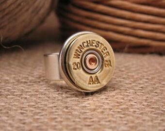 """Bullet Jewelry - Shotgun Casing Jewelry- Bullet Ring - 20 Gauge Shotgun Casing Statement Ring - """"The Original"""""""