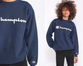 Champion Sweatshirt Crewneck Pullover Sports Jumper 90s Streetwear Shirt Navy Blue Slouch 1990s Vintage Small