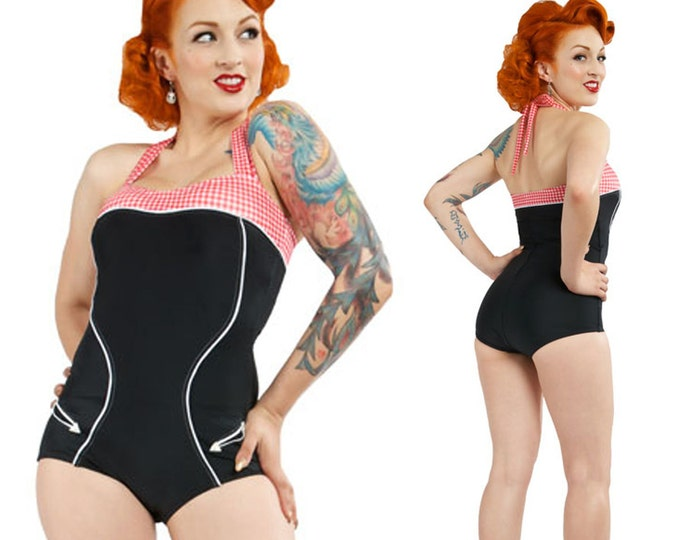 Hanna Western Cowgirl Swimsuit in Black with Red/White Gingham XS only!!