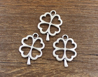 30pcs Lucky Clover Charms Antique Silver Tone 17x25mm - SH27