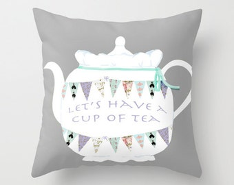 Outdoor Pillow Cover with Pillow Insert, Outdoor Pillow, Bunting and Tea Celebration