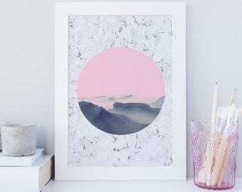 Mountain Print, Minimalist print, Pink Clouds Printable wall art, Marble Art print, Orb Art Print, Nordic wall art, Office decor, nursery