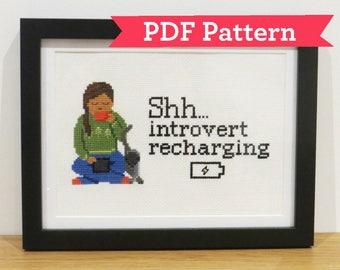 Introvert Recharging Cross Stitch Digital PDF Pattern