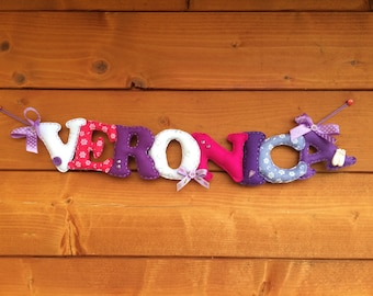 Felt name, customizable banner, banner with name, birthday banner, gift idea for girls, birthday idea, customizable gift