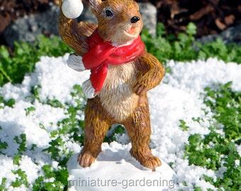 Squirrel Snowball Fight for Miniature Garden, Fairy Garden