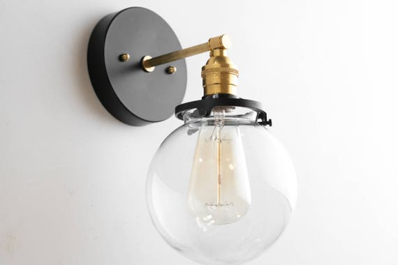 Modern farmhouse wall sconces brass sconce light edison like this item aloadofball Image collections