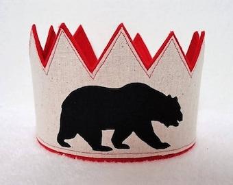 Bear Birthday Crown, Black Bear Crown, Birthday Crown, Birthday Party Hat, 1st Birthday, Birthday Hat, Kids Birthday, Adult Birthday, Crowns