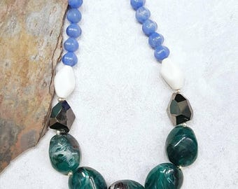 Chunky Giant Beaded Blue Teal Multicolor Anthropologie Style Statement Necklace