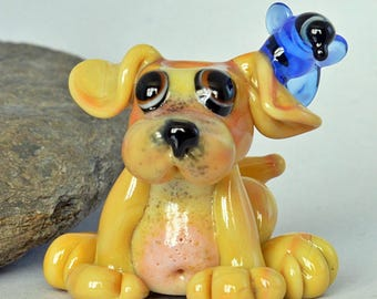 DOG, Glass Dog Bead with Blue Bird,   lampwork glass bead, whimisical lampwork focal bead, Izzybeads SRA
