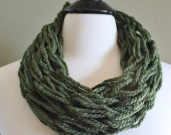 Small Olive Single Loop Arm Knit Scarf