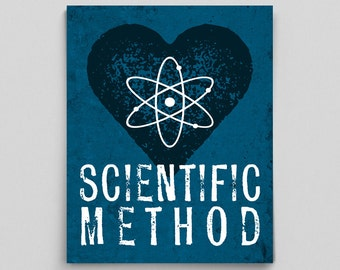 Scientific Method Print Love Science Teacher Gifts for Teachers Science Art Typographic Print Dorm Decor Office Decor Gifts for Boss Gifts