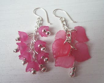 Miss match earrings, leaves & bell flowers, fairytale earrings, floral earrings, choice of colours, dangle earrings, nature inspired jewelry