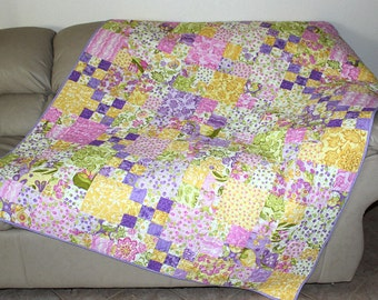 Summer Quilted Sofa Throw, Lap Quilt with Pastel Cotton Moda Eden Fabrics. Purple and Yellow Quilted Throw Blanket