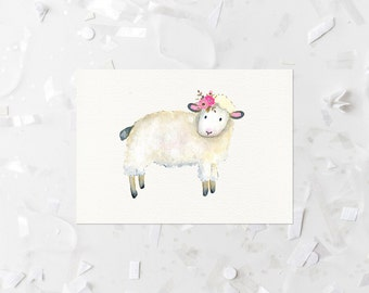 Nursery Lamb Printable Watercolor Lamb Print Lamb Wall Art Pink Floral Nursery Decor Pink Flowers Sheep Nursery Print Girl Nursery Wall Art