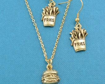 Hamburg and french fries necklace and earrings set.  Jewelry sets.  Necklace and matching earrings.  Fast food earrings.  Hamburger.