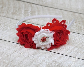 Christmas Santa Claus Headband - Christmas Headband - Red and White Christmas Headband - Hard Headband - Christmas Hard Headband