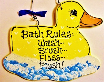 RUBBER DUCKY Bath Rules SIGN Bathroom Yellow Duck Kids Plaque Decor Country  Wood Crafts Handcrafted Handpainted