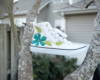 Hand Embroidered High Top Sneakers Women's SIZE 7